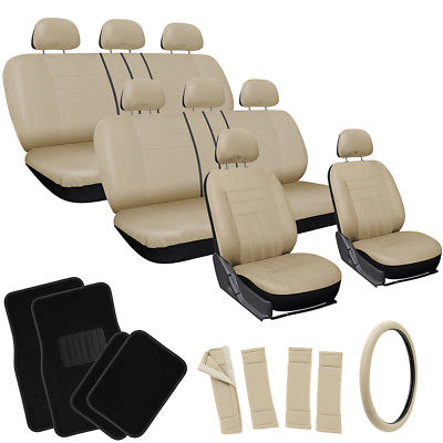 Car Accessories 25pc Set Beige Tan Black Auto VAN Seat Cover Wheel Pads Head Rest + Floor Mat 4B