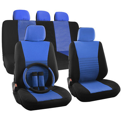 Car Accessories Car Seat Cover Set for Dodge Charger Steering Wheel/Head Rests Blue Full Stripe