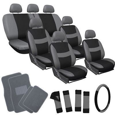 Car Accessories 26pc Complete Gray Black SUV Auto Car Seat Cover Set with Grey Carpet Floor Mats
