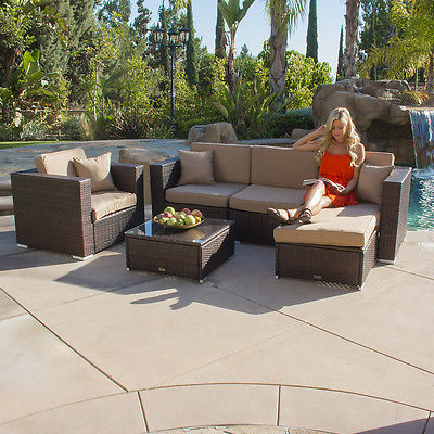 6 PC Rattan Wicker Patio Sofa Set Sectional Garden Yard Aluminum Furniture Brown