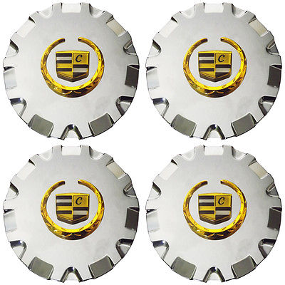 "Car Accessories 4 Pc Set Caddy SRX 17"" Gold Lux Logo Center Caps Wheels Pop In Hub Cover"