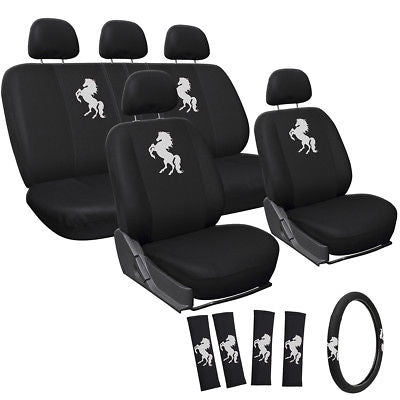 Car Accessories Car Seat Covers White Wild Horse 17pc Set for Auto w/Steering Wheel/Head Rests