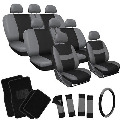 Car Accessories 25pc Set Gray Black Auto VAN Seat Covers Wheel Pads Head Rests + Floor Mats 4E