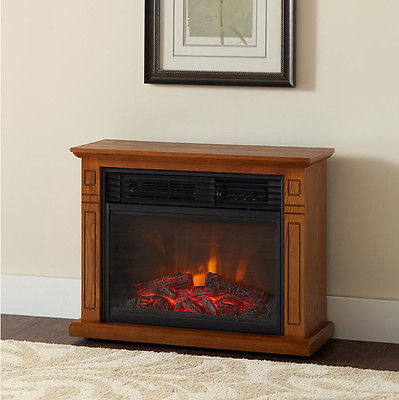 1500W Electric Firebox Fireplace Infrared Rolling Mantel Heater Flame Log Remote