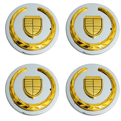 Car Accessories 4 Pc Set Cad CTS 05 Gold Logo Center Caps Wheels Rims Pop In Hub Cover
