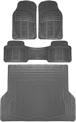 Car Accessories 4pc All Weather Heavy Duty Rubber SUV Floor Mat Gray 2 Row & Trunk Liner 3C