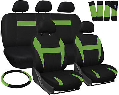 Car Accessories Car Seat Covers for Kia Soul Green & Black w/Steering Wheel/Belt Pads/Head Rests