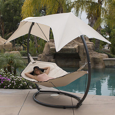 Patio Hammock w/ Sunroof Canopy Outdoor Swing Backyard Beach Yard SunShade Beige
