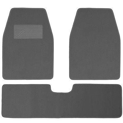 Car Accessories 3pc Set Light Gray Grey Heavy Duty Carpet SUV Floor Mats Front Rear Rug Liner 3D