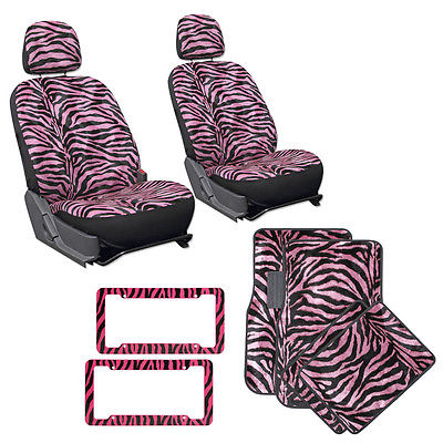 Car Accessories 12 PC Set Pink Zebra Tiger Print Bucket Seat Covers Mats License Plate Frames