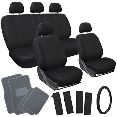 Car Accessories 21pc Set Solid Black Seat Cover Steering Wheel Pad Head rests+ Gray Floor Mat
