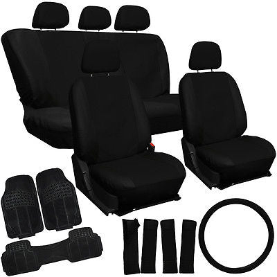 Car Accessories 21pc Faux Leather Solid Black Auto Seat Cover Set Rubber Floor Mats for VAN Auto