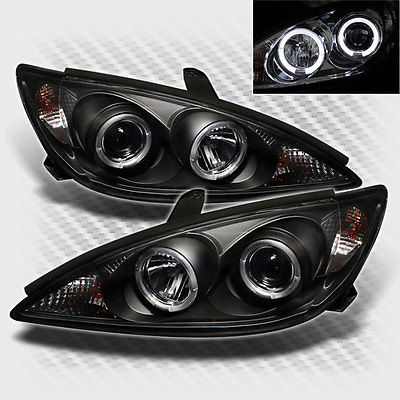 For 2002-2006 Toyota Camry Twin Halo Projector Headlights Blk Head Lights Lamp