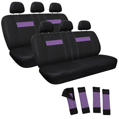 Car Accessories 14pc Set Purple Black Back Row Bench Auto Seat Covers + Wheel-Belt Pad-Head Rest