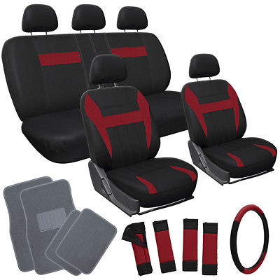 Car Accessories 17pc Set Red Black Car Seat Cover Wheel Cover + Head Rests + Gray Floor Mats 1B