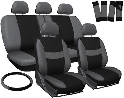 Car Accessories Truck Seat Covers for Toyota Tacoma Gray Black Steering Wheel-Belt Pad-Head Rest