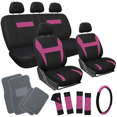Car Accessories 20pc Set Pink Black SUV Seat Cover Wheel + Belt Pad + Head + Gray Floor Mats 3D