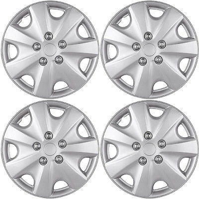 "Car Accessories 4 Piece Set A/M Silver ABS Fits 2003 2004 HONDA ACCORD 15"" Wheel Covers Hub Caps"