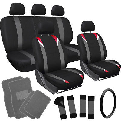 Car Accessories 21pc Red Gray Black TRUCK Seat Cover Wheel + Low Back Buckets + Floor Mat Combo