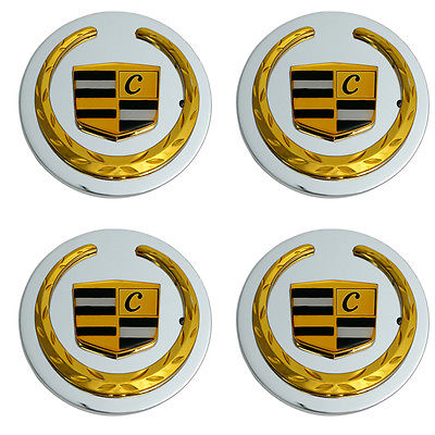 Car Accessories 4 Pc Set Cad CTS 05 Gold Lux Logo Center Caps Wheels Rims Pop In Hub Cover