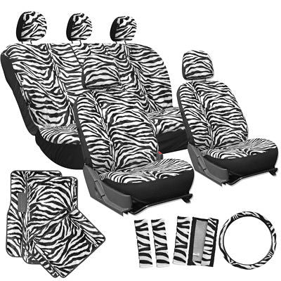 Car Accessories 21pc White Zebra Print SUV Seat Covers Set Floor Mats Wheel Belt Pad Head Rest