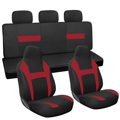 Car Accessories 10pc Full Set Red Black Integrated Chair + Bench Car High Back Car Seat Covers