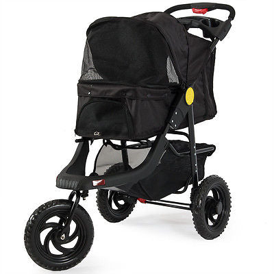 Deluxe Pet Stroller Cat Dog 3 Wheel Walk Jogger Travel Folding Carrier, Black