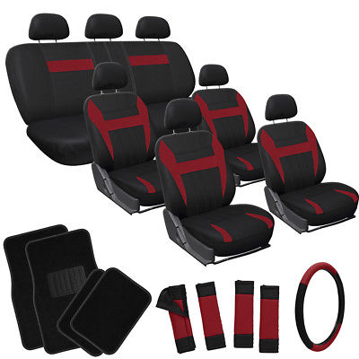 Car Accessories 26pc Complete Red Black SUV Auto Car Seat Covers Set Wheel + Belts + Floor Mats
