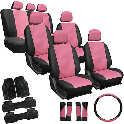 Car Accessories 27pc Set Faux Leather Pink & Black Van Seat Covers Bucket Bench Wheel + Mats 4B