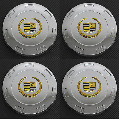 "Car Accessories 4 Pc Set Cadillac Escalade 22"" Gold Lux Logo Center Caps Wheels Pop In Cover"