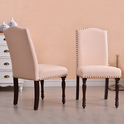 Modern Parson Dining Chair High Back Living Room Nailhead Linen Beige, Set of 2