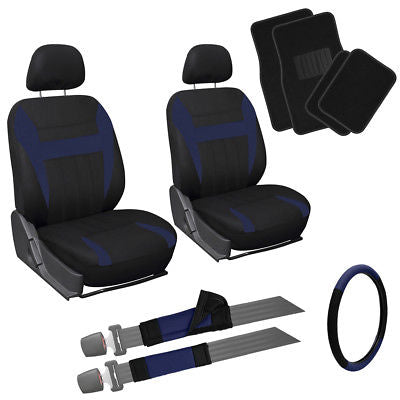 Car Accessories 13pc Front Bucket SUV Seat Covers Set Blue Black Wheel Belt Head Floor Mats 3B
