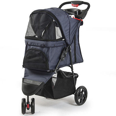 Pet Stroller Cat Dog 3 Wheel Easy Walk Jogger Travel Folding Carrier Fold-Able