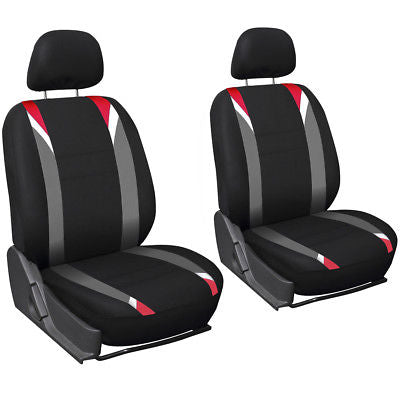 Car Accessories 13pc Red Black Front Bucket Truck Seat Covers Set Wheel Belt Gray Floor Mats 2E