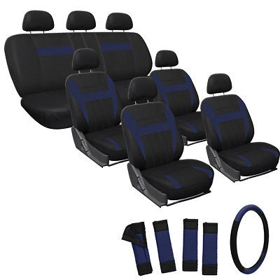 Car Accessories 23pc Full Set Blue Black SUV Seat Covers FREE Steering Wheel + Pads Rests 3D