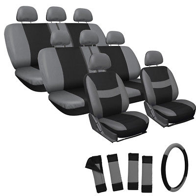 Car Accessories 25pc Full Set Gray Black Van Seat Covers + FREE Steering Wheel Pads Head Rests