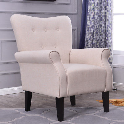 Modern Account Chair Linen Fabric Room Elegant Seat w/ Armrest, Beige