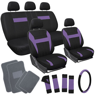 Car Accessories 21pc Set Purple Black Car Seat Covers Wheel Pads Head Rests+ gray Floor Mats