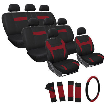 Car Accessories 25pc Full Set Red Seat Covers Steering Wheel Belt Pads
