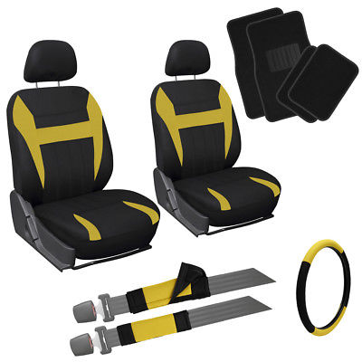 Car Accessories 13pc Front Bucket SUV Seat Covers Set Yellow Black Wheel Belt Head Floor Mats 3C