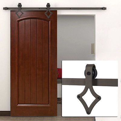 6FT Country Barn Wood Steel Sliding Door Closet Hardware Black/Brown/Stainless