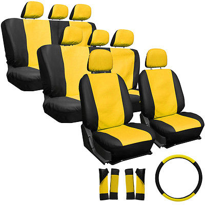 Car Accessories 25pc Full Set Yellow Black Auto VAN Seat Covers Bucket Bench Wheel Head Belt Pad