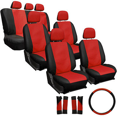 Car Accessories 23pc Full Set Red Black Auto VAN Seat Covers Buckets Bench Wheel + Pads 4B