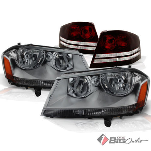 08-10 Avenger Smoked Headlights + Tinted Smoke Red Tail Lights Assembly L+R