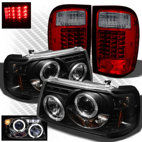 For 01-05 Ranger 1pc Black Projector Headlights + R/S Philips-LED Tail Light
