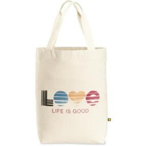 Life is Good Messaaging Tote Bag Love Stripes