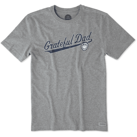 Life is Good Mens Crusher Tee Grateful Dad Heather Grey