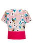 Floral Bird Colour Panel Blouse