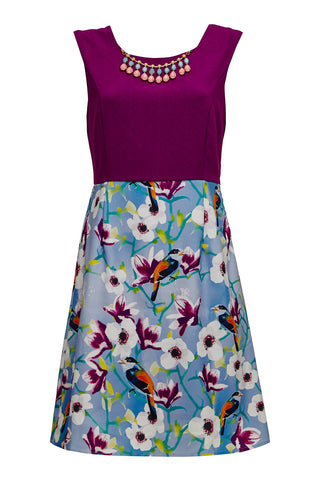 Floral Bird Skirt Dress