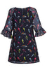 Flutter Sleeve Bird Print Tunic